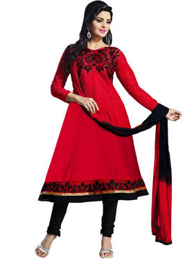 Florence Combric Cotton Embroidered Dress Material - Red - SB-2072