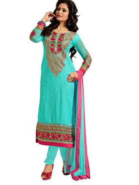 Florence Chiffon Embroidered Dress Material - Green - SB-2149