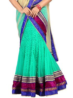 Florence Net with Braso Embroidered Lehenga - Green - AN_1028
