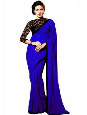Florence Satin Embriodered Saree - Blue - FL-10236
