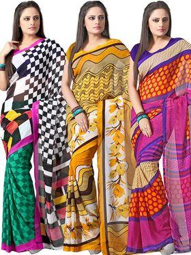 Pack of 3 Florence Printed Faux Georgette Saree - FL_Dani_3_7