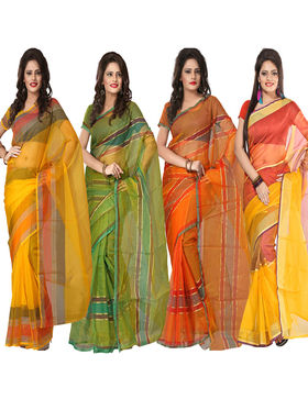 Pack of 4 Florence Tissue Plain Sarees