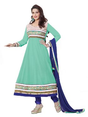 Florence Georgette Anarkali Semi-Stitched Suit-Green-SB-1442