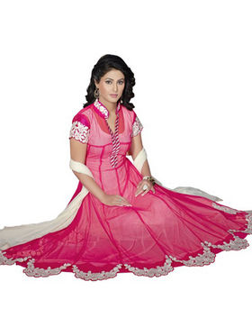 Florence Georgette  Embroidered Dress Material - Pink - SB-1730