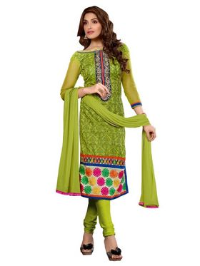 Florence Chanderi Cotton Embroidered Dress Material - Green - SB-1754