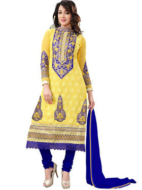 Florence Georgette  Embroidered Dress Material - Yellow - SB-1846