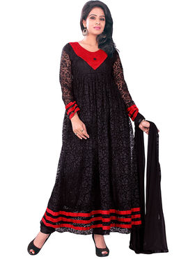 Florence Net + Brasso Embroidered Dress Material - Black - SB-2702
