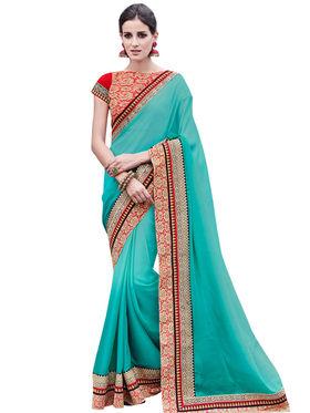 Bahubali Satin Chiffon Embroidery Saree -GA20027