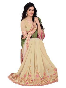 Khushali Fashion Embroidered Georgette Half & Half Saree_KF31