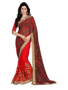 Khushali Fashion Embroidered Georgette Half & Half Saree_KF32