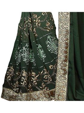 Khushali Fashion Embroidered Georgette & Crepe Jacquard Saree(Olive Green)_GNGLW1008