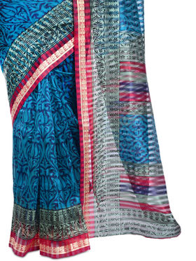 Purvi Collection of 7 Printed Sarees with South Silk Border (7PBS1)