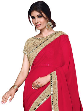Shonaya Embroidered & Mirror Work Georgette Sarees -Hiext-2261