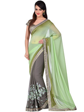 Shonaya Embroidered Georgette & Satin Sarees -Hivl3-63021