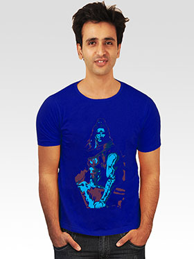 INCYNK Printed Round Neck Half Sleeves T Shirt for Men - Blue_MHT126_BLUE_1
