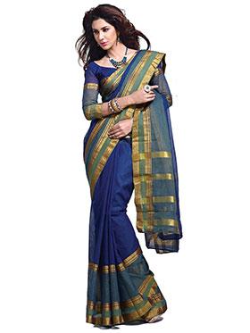 Ishin Traditional Cotton Saree - Blue-MFCS-Zane
