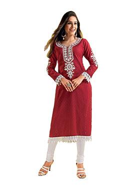 Ishin Embroidered Cotton-Jacquard Kurti -Red-ASHR-Bala