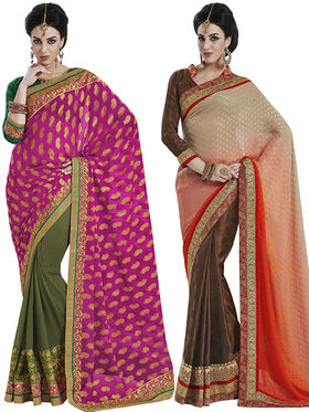 Pack of 2 Bahubali Embroidered Sarees - GAL801