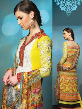 Inddus Georgette Embroidered Dress Material - White And Yellow