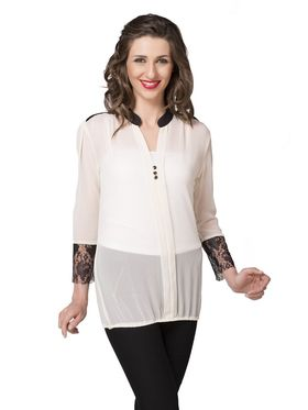 Ishin Georgette Solid Top - White_INDWT-5018