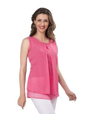 Ishin Georgette Solid Top - Pink_INDWT-5051