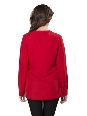 Ishin Georgette Solid Top - Red_INDWT-5065