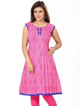 Ishin Poly Cotton Printed Kurti - Pink_ADNK-202
