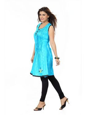 Ishin Poly Cotton Printed Kurti - Blue_ADNK-272