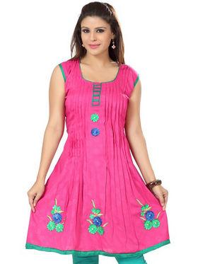 Ishin Poly Cotton Printed Kurti - Pink_ADNK-317