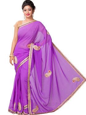 Ishin Georgette Printed Saree - Purple - ANCL-2435