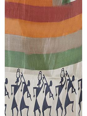Ishin Printed Art Silk Saree - Multicolor-ISHIN-958