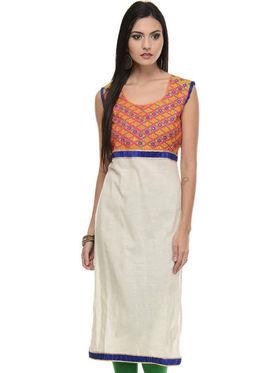 Lavennder Khadi Embroidered Kurti - Cream and Orange - LK-620132