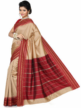 Ishin Art Silk Printed Saree - Beige and Red - SNGM-1874