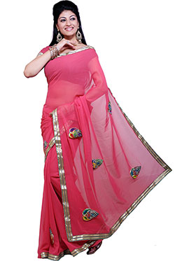 Ishin Embroidered Georgette Saree   Pink available at Naaptol for Rs.399