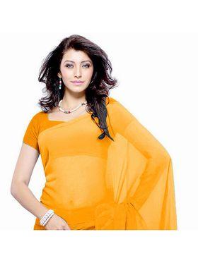 Khushali Fashion Georgette Plain Saree(Orange)_JAZZ558