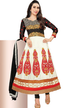 Javuli Georgette Embroidered  Dress Material - White - eliza-36007