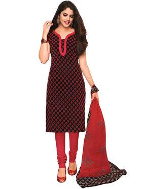Javuli 100% pure Cotton Printed  Dress material - Brown - shree-new202