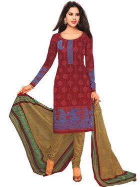 Javuli 100% pure Cotton Printed  Dress material - Red - shree-new221