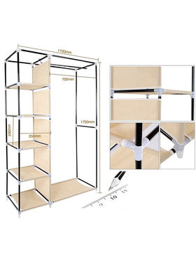 Kawachi Elegant Double-Sided Foldable Canvas Wardrobe_K1-Beige