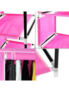 Kawachi Elegant Double-Sided Foldable Canvas Wardrobe_K1-Pink