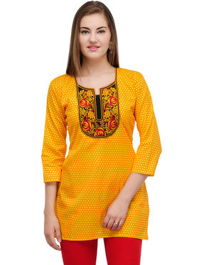 Arisha Cotton Printed Kurti KRT6023_Ylw