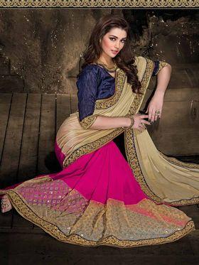 Viva N Diva Georgette & Net Floral Embroidery Saree -Kalki-03-3012