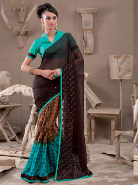 Viva N Diva Georgette Embroidered Saree Kanvi-2258