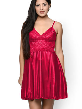 Klamotten Satin Solid Nightwear - Red - YY32