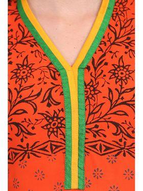 Kyla F Ryon Printed Kurti - Orange - KYL5010