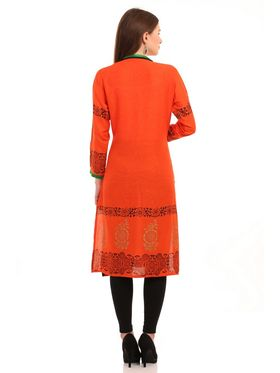 Kyla F Ryon Printed Kurti - Orange - KYL5019