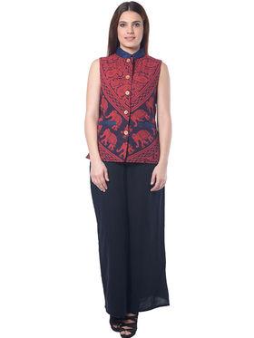 Lavennder Red Cotton Printed  Sleeveless Women Nehru Jacket - LJ-24040