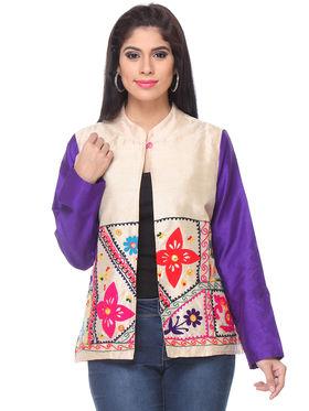 Lavennder Khadi Embroided Summer Jacket -LJ-24105
