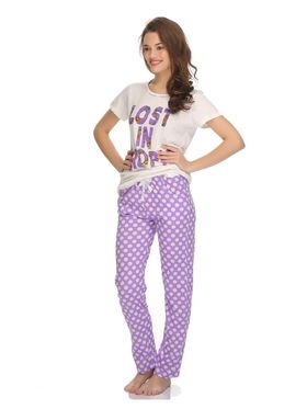 Clovia Cotton Printed Top & Pyjama Set -LS0001P12