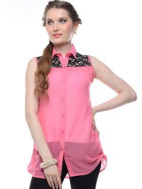 Combo of 5 Lavennder Crepe Georgette Solid Printed Ladies Shirts-la07